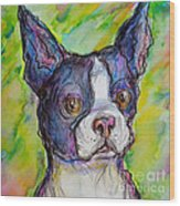 Purple Boston Terrier Wood Print