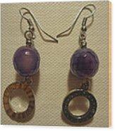 Purple Doodle Drop Earrings Wood Print