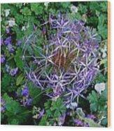 Purple Flower Sphere Wood Print