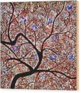 Purple Flowered Tree Wood Print