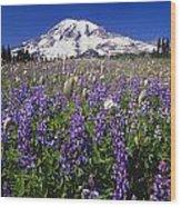 Purple Flowers Blooming Beneath Mount Wood Print