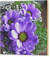 Purple Flowers In The Bubble Wood Print