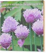 Purple Flowers In The Field Wood Print