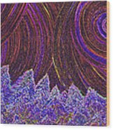 Purple Forest Moon Wood Print