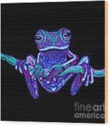 Purple Ghost Frog Wood Print