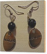 Purple Glitter Healing Earrings Wood Print
