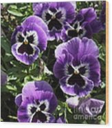 Purple Pansies Square Wood Print