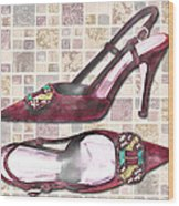 Purple Pumps On Terrazzo Tiles Wood Print