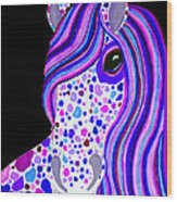 Purple Spotted Horse Wood Print