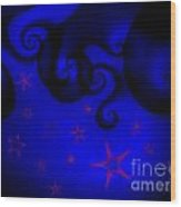 Purple Stars On Blue Swirls Planet Wood Print