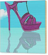 Purple Stilt Stilettos Reflections Wood Print