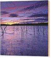 Purple Waters Wood Print