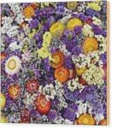 Purple Yellow Orange White Cut Flowers Wood Print