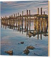 Pylons In Humboldt Bay Wood Print
