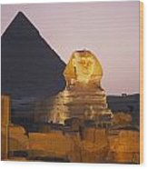 Pyramids Of Giza With The Great Sphinx Wood Print by Richard Nowitz
