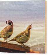 Quail And His Lady Wood Print