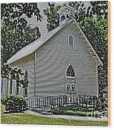 Quaker Church Pencil Wood Print