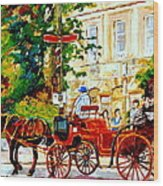 Quebec City Street Scene The Red Caleche Wood Print