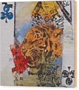 Queen Of Clubs 4-52  2nd Series  Wood Print