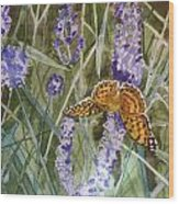 Queen Of Spain Fritillary And Lavender II Wood Print