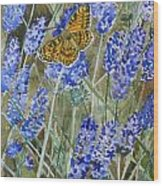 Queen Of Spain Fritillary And Lavender Wood Print