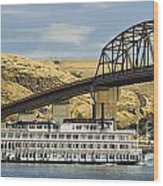 Queen Of The West Paddlewheeler Wood Print