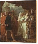 Queen Philippa Interceding For The Lives Of The Burghers Of Calais Wood Print by Benjamin West