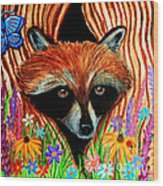 Raccoon And Butterfly Wood Print