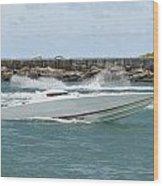 Race Boat Wood Print