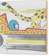 Race Car And Cheetah Cartoon Wood Print
