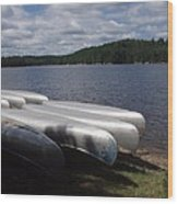 Racks Of Canoe's On Bear Pond Lake In The Adirondacks Ny Wood Print