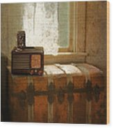 Radio And Camera On Old Trunk Wood Print