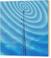 Radio Mast With Radio Waves Wood Print