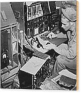 Radio Operator Operates His Scr-188 Wood Print by Stocktrek Images
