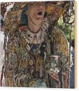Rag Lady Begging Wood Print