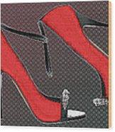 Raging Red Open Toed Stilettos Wood Print