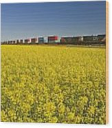 Rail Cars Carrying Containers Passe Wood Print