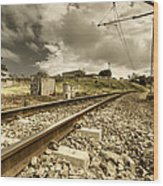 Rail Contrasts Wood Print