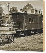 Railroad Car And Wagon Wood Print