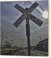 Railroad Crossing Wood Print