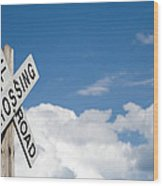 Railroad Crossing Sign Wood Print