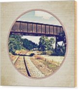 Railroad Tracks And Trestle Wood Print
