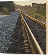 Railroad Tracks At Sundown Wood Print