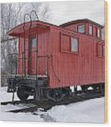 Railroad Train Red Caboose Wood Print