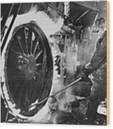 Railroad Worker Sweating A Tire Wood Print by Everett