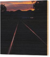 Rails Into The Rogue Sunset Wood Print