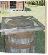 Rain Barrel An Smoke House Wood Print by Sheri McLeroy
