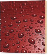Rain Drops Bloody Red  Wood Print