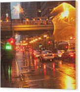 Rain In Chicago Wood Print