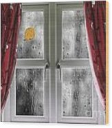 Rain On A Window With Curtains Wood Print